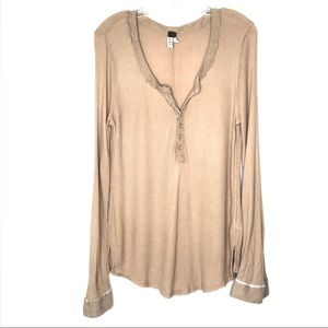 Free People We The Free Creamy Tan Henley Top - M